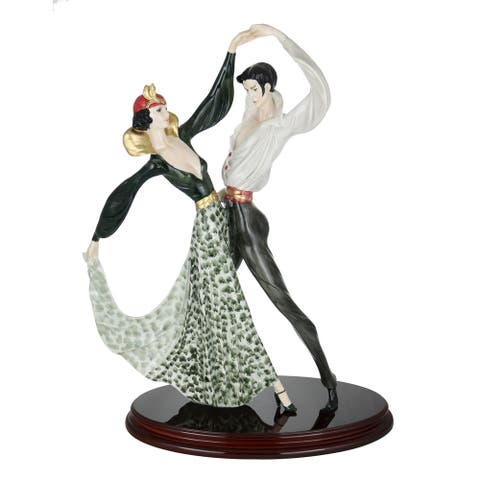 "Santini Authentic Figurine Tango Dancers Man & Woman in Green Statue Oval Wooden Base Made in Italy, 21"" x 16"""