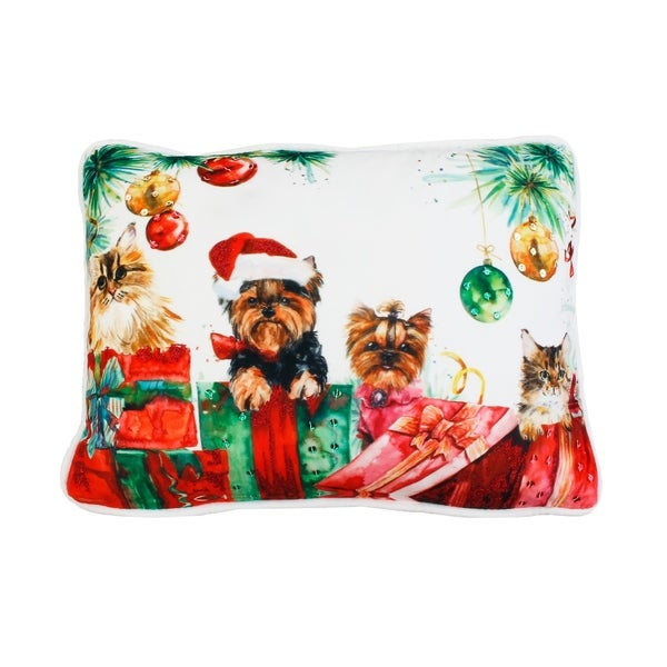 "Thro 14x18"" Animal Christmas Surprise Sequined Mandee Velvet Pillow"