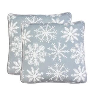 """Thro Set of 2 20"""" Sirana Snowflake Printed Mandee Velvet Pillows"""