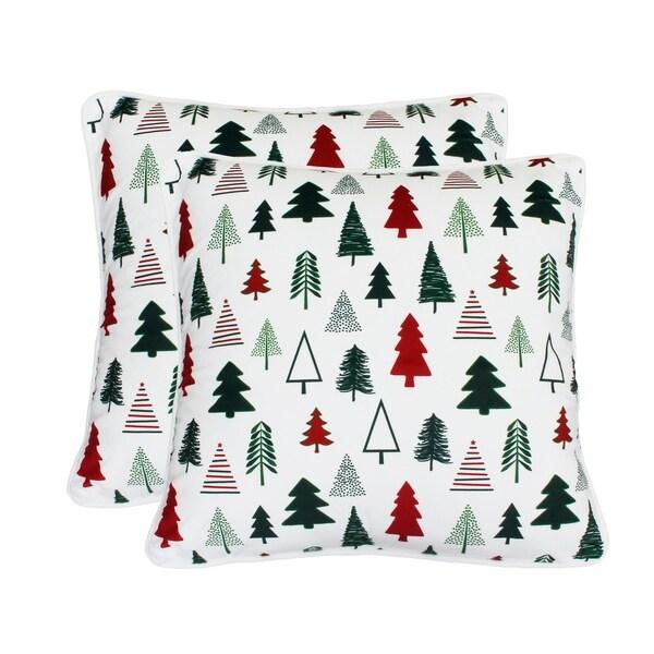 "Thro Set of Two 20"" Pine Tree Printed Mandee Velvet Pillows"