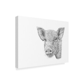 Let Your Art Soar 'Pig Line Art' Canvas Art