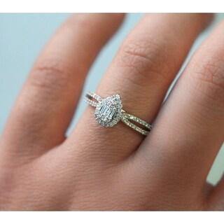 Annello by Kobelli 10k White Gold 1/4 Carat TDW Multi Diamond Pear Cluster Split Shank Ring