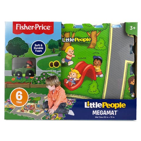 JamN' Products 6 Piece Tile Mega Floor Mat with Vehicle, Little People