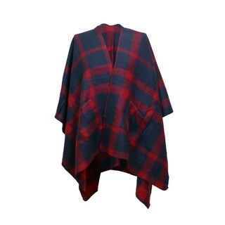 LA77 Plaid Shawl Cover Up with Pockets