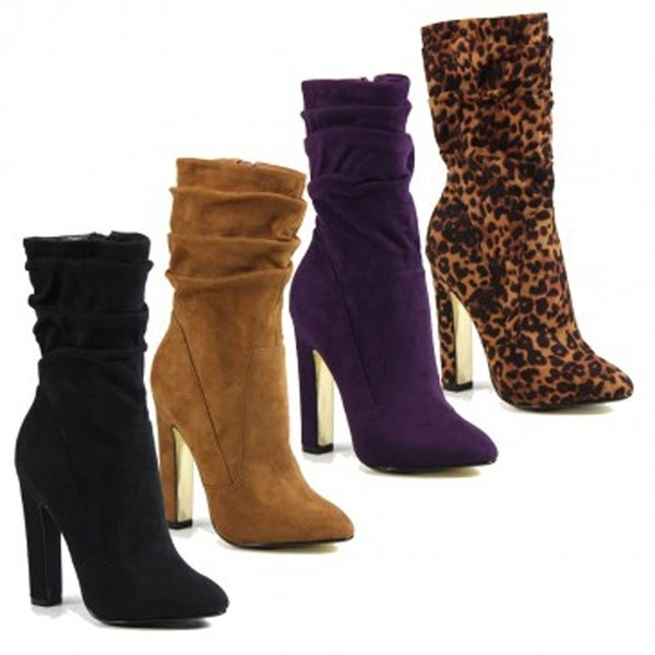 7ba48e9d564 Luichiny ChaChing Suede Mid-calf Slouchy High Heel Dress Boot