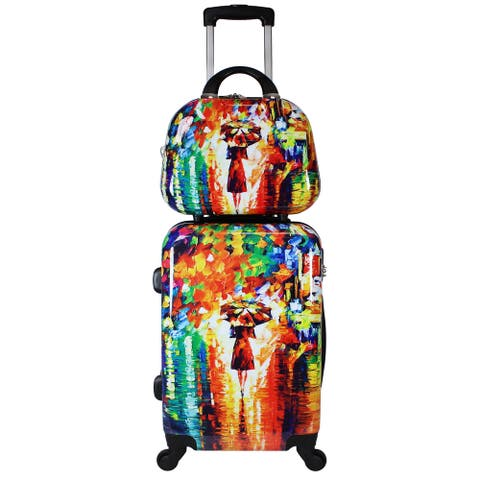 Paris Nights 2-Piece Lightweight Upright Spinner Luggage Set