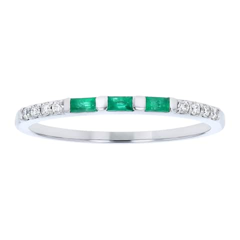 14K White Gold 1/5ct. Emerald and Diamonds Anniversary Band Ring by Beverly Hills Charm