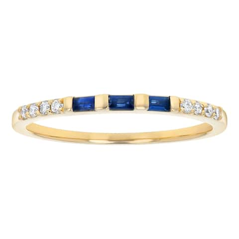 14K Yellow Gold 1/4ct. Blue Sapphire and Diamonds Anniversary Band Ring by Beverly Hills Charm