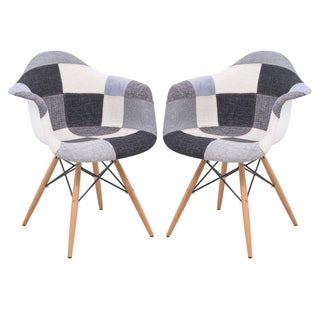 LeisureMod Willow Patchwork Armchair with Wooden Eiffel Legs Set of 2