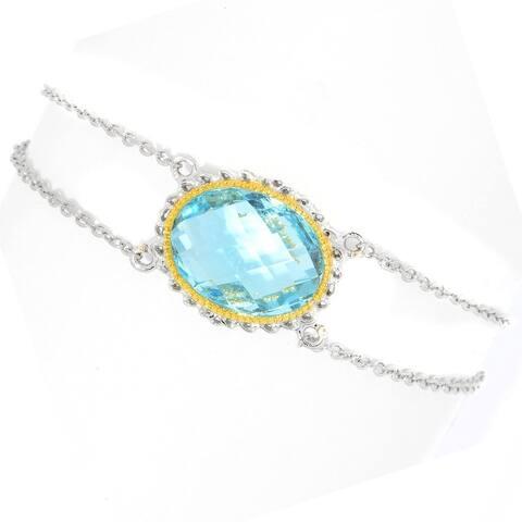 "Gems en Vogue Palladium Silver Swiss Blue Topaz Oval Double Brio Bracelet w/ 1.5"" Extender"