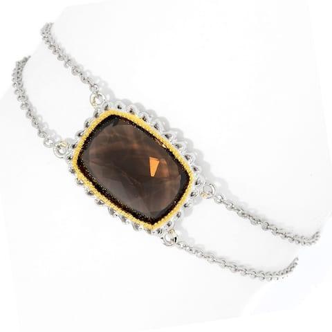"Gems en Vogue Palladium Silver Smoky Quartz Cushion Bracelet w/ 1.5"" Extender"
