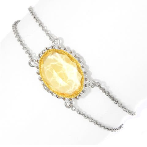"Gems en Vogue Palladium Silver Citrine Oval Bracelet w/ 1.5"" Extender"