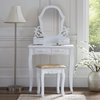 Fineboard Vanity table in Wood Dressing table set with Stool