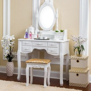 Fineboard Vanity Set with Stool & Mirror with 7 Drawers Single Oval Mirror