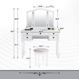 Fineboard Dressing Set with Stool, Three Mirror, 5 Organization Drawers