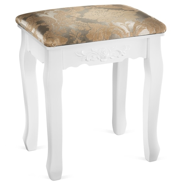 Fineboard Luxury Vanity Table Stool Wood Unique Shape Floral Crafted for Vanity Tables or Other Extravagant Tables with Artwork