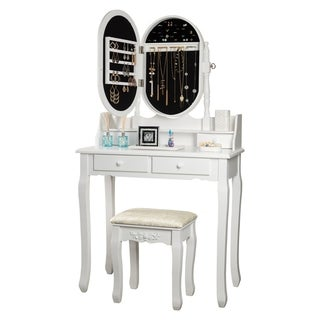 Fineboard Makeup Vanity Set with Mirror and Jewelry Cabinet 4 Makeup Drawers