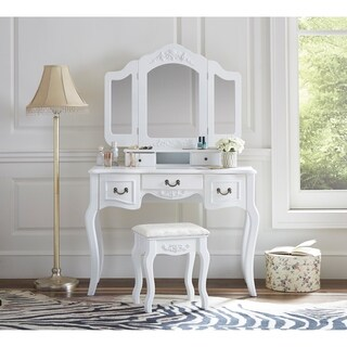 Fineboard Vanity Set Beauty Station With 3 Mirrors and 5 Organization Drawers