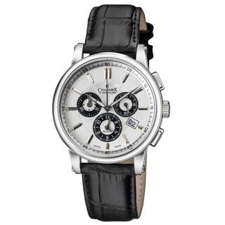 Charmex of Switzerland Luxury Kyalami Men's Watch - 41 mm Swiss Made Alarm Chronograph - Black Genuine Leather Strap CX-2065