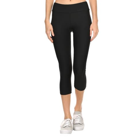 Solid Black Women'S Acitve Capri Leggings