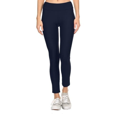 Solid Navy Women'S Active Ankle Length Leggings