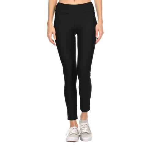 Solid Black Women'S Active Ankle Length Leggings
