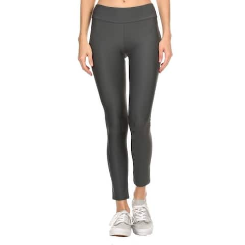 Solid Gray Women'S Active Ankle Length Leggings
