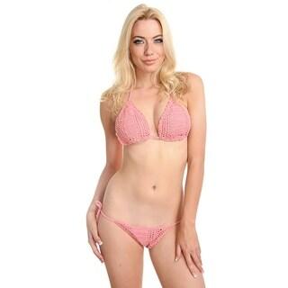 Pink Handmade Crochet Triangle Scrunch Butt Tie Side Bikinis