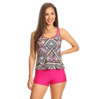 Ethnic Geo Womens Double Crossback Blouson Tankini W/ Boyshort Bottom