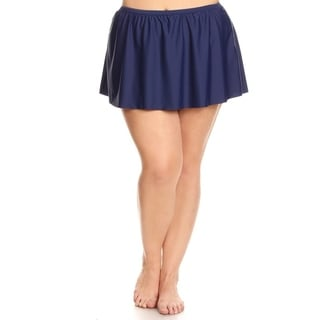 Plus Size Solid Navy Skirt Swimsuit Bottom