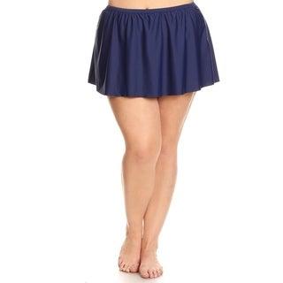 Plus Size Solid Navy Skirt Swimsuit Bottom