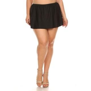 Plus Size Solid Black Skirt Swimsuit Bottom