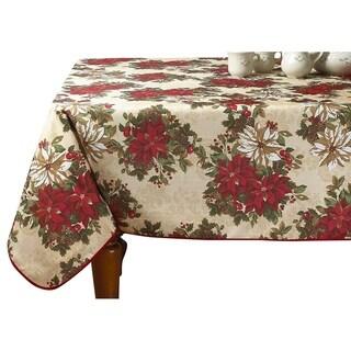 Violet Linen European Holiday Christmas Poinsettia Garden Design Printed Tablecloth