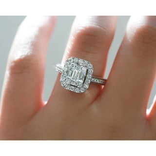 Annello by Kobelli 14k White Gold 1 Carat TDW Multi Diamond Baguette Cluster Pave-Shank Half Eternity Engagement Ring