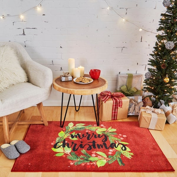 Shop Mohawk Home Prismatic Christmas Wreath Area Rug 2 6 X 4 2