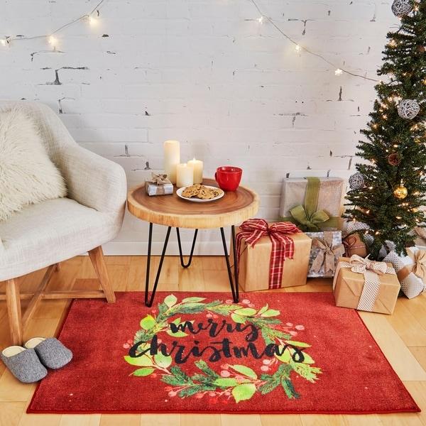 Shop Mohawk Home Prismatic Christmas Wreath Area Rug 2 6 X 4 2