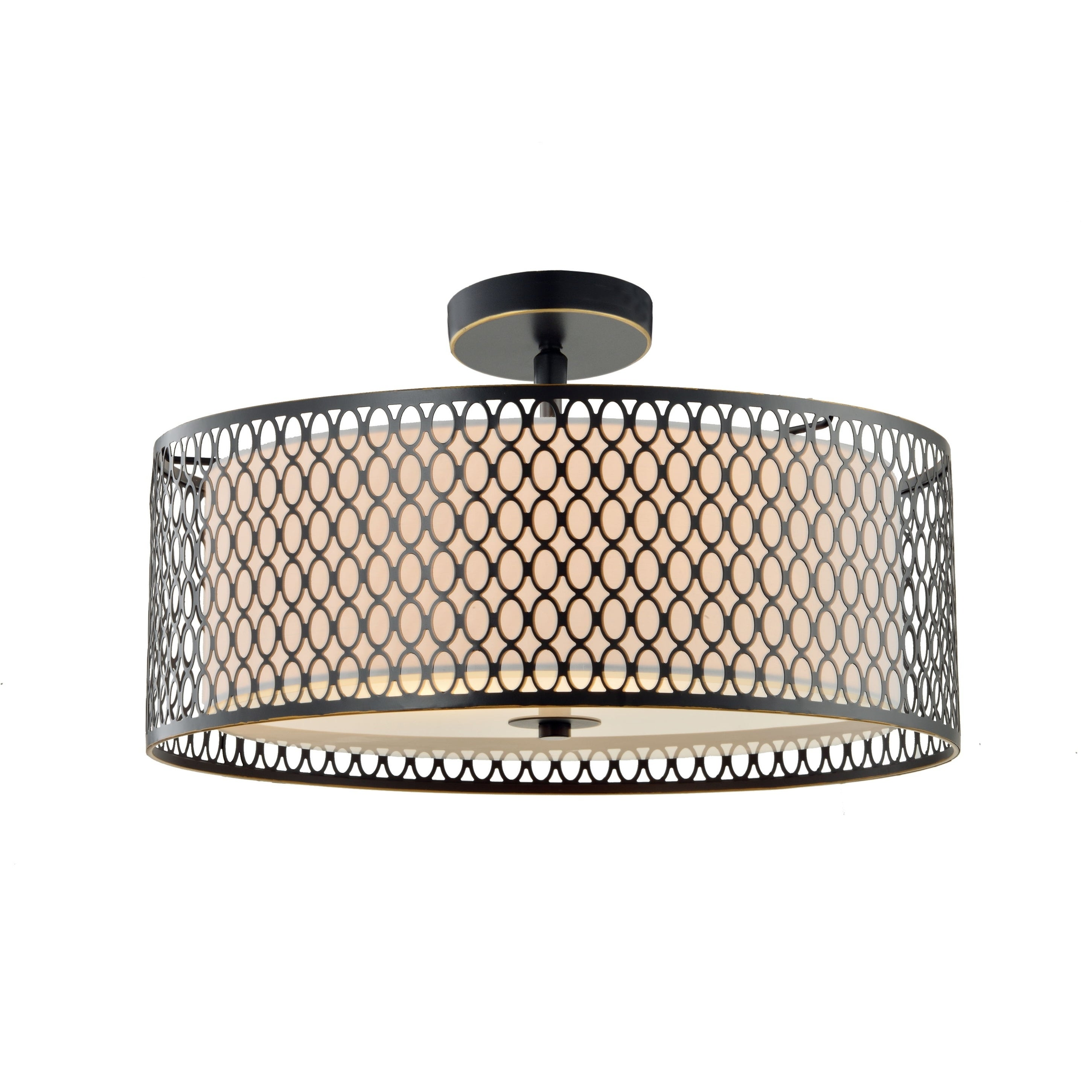 Woodbridge Lighting 1663brzle Spencer Semi Flush Bronze Off White Shade W Embedded Led