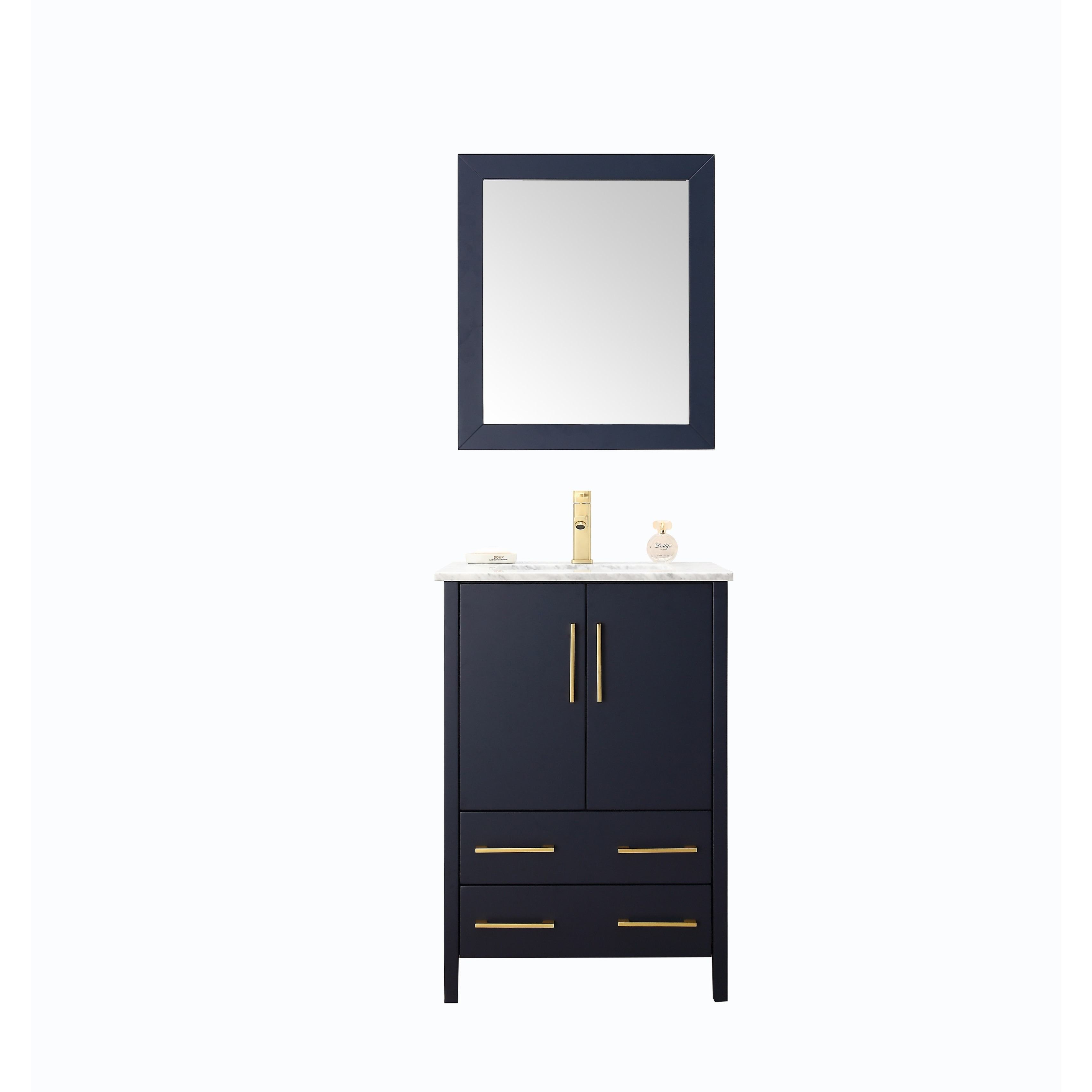 24 Inch Sink Blue Bathroom Vanity And Matching Framed Mirror Overstock 24314152