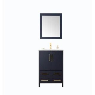 24-inch Sink Blue Bathroom Vanity and Matching Framed Mirror