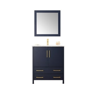 "30"" Blue Solid Wood Sink Vanity With Mirror-No Faucet"