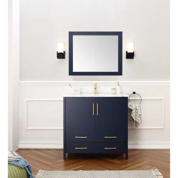 Shop 36 Inch Sink Blue Bathroom Vanity And Matching Framed Mirror