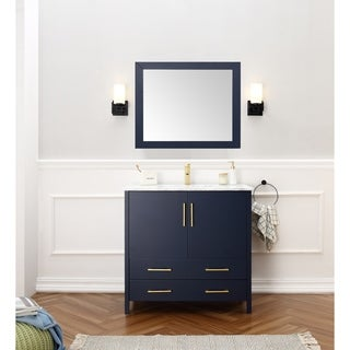36-inch Sink Blue Bathroom Vanity and Matching Framed Mirror