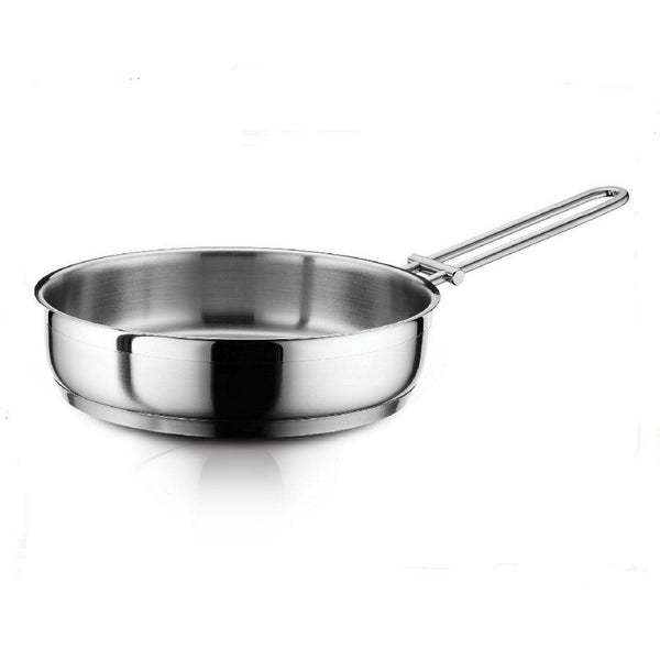 Hascevher Classic 18/10 Stainless Steel 10 Inch Deep Frying Stir Fry Pan Open Skillet Cookware All Stove & Induction Pot