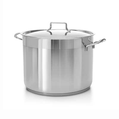 Hascevher Classic 18/10 Stainless Steel StockPot Covered Cookware Induction Compatible Oven Safe 16 Quart