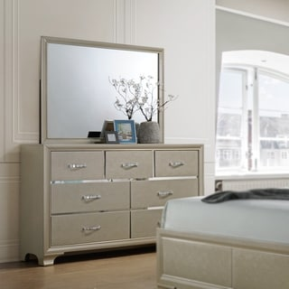Contemporary 8 Drawer Dressers-Champagne Finish