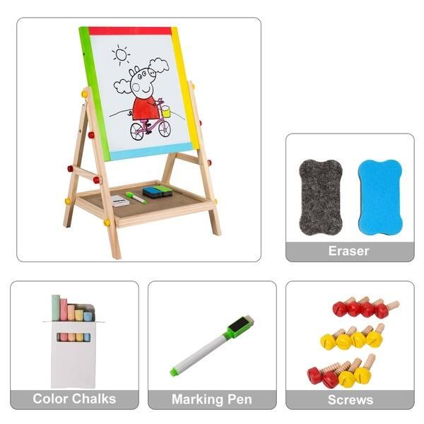 Shop Kinbor Kids Double Sided Wooden Art Easel Drawing Chalkboard W