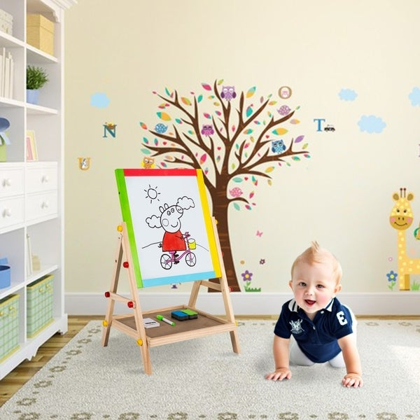 Kinbor Kids Wooden Double Sided Standing Art Easel Drawing Chalkboard w/ Storage Shelf