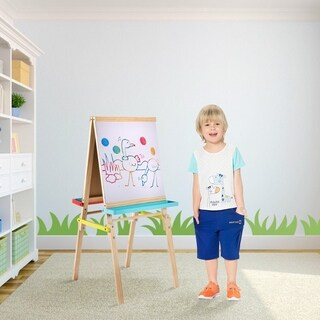 Kinbor Kids Double Sided Standing Easel Magnetic Art Easel With Chalkboard