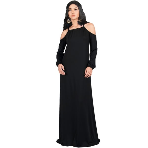 fd7858b01d Shop KOH KOH Womens Cold Shoulder Full Floor Length Casual Gown Maxi ...