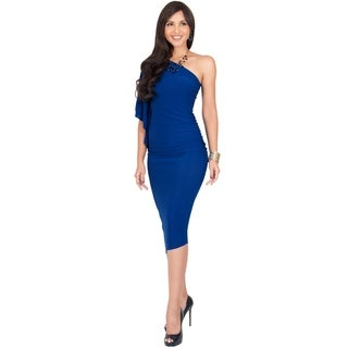 KOH KOH Womens One Off Shoulder Sexy Party Elegant Slimming Midi Dress